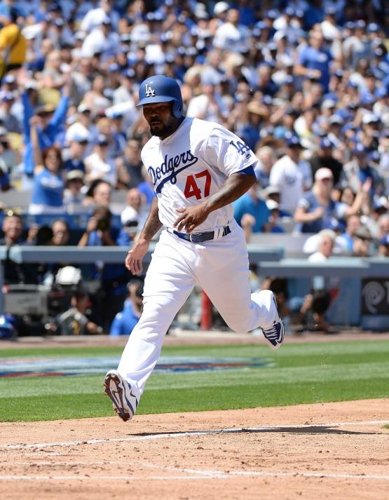 Howie Kendrick comes in to score. Jill Weisleder/LA Dodgers