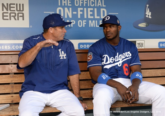 Yasiel Puig sits in the dugout prior to tonights game against the Los Angeles Angels of Anaheim. Jill Weisleder/LA Dodgers