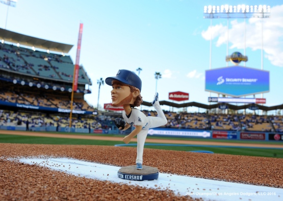 Clayton Kershaw bobble head night at Dodger Stadium for the game between the Los Angeles Dodgers and Miami Marlins.