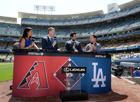 Sportsnet broadcasters interview the Dodgers President of Baseball Operations Andrew Friedma . Jill Weisleder/LA Dodgers