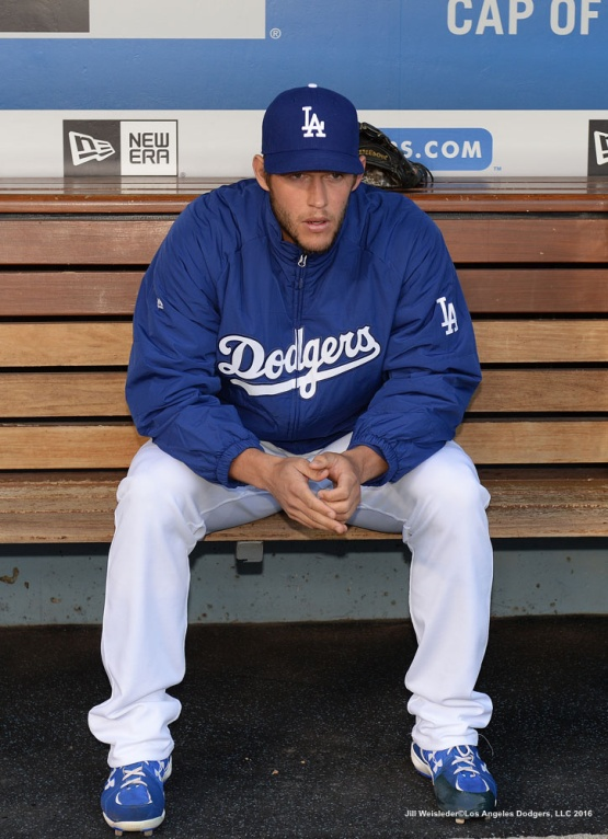 Clayton Kershaw sits in the dugout prior to the start of the game against the San Francisco Giants. Jill Weisleder/Dodgers