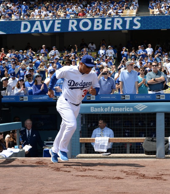 Dodger manager Dave Roberts is introduced during pre-game festivities. Jill Weisleder/LA Dodgers