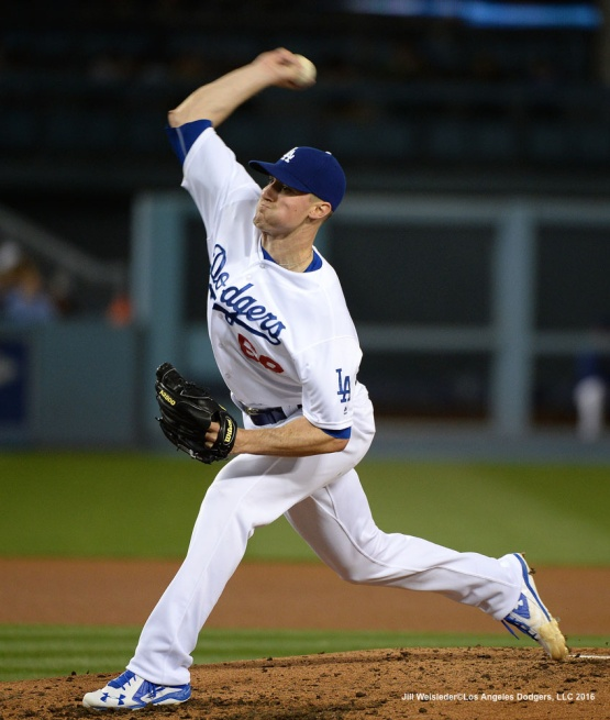 Starting pitcher Ross Stripling throws on the mound. Jill Weisleder/Dodgers