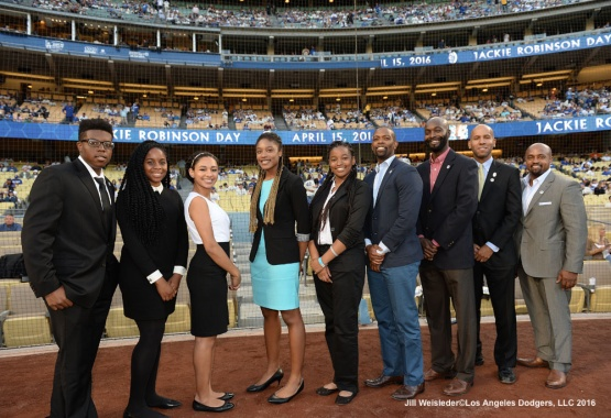 Recipients of the Jackie Robinson Foundation Scholars pose for a photo during pre-game festivities. Jill Weisleder/Dodgers