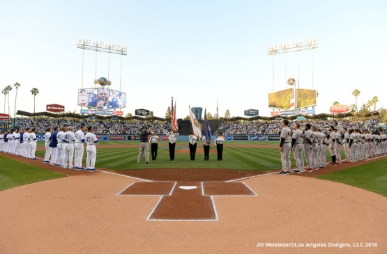April 15th is commemorated annually in honor of Jackie Robinson Day where all players wear Number 42. Jill Weisleder/Dodgers