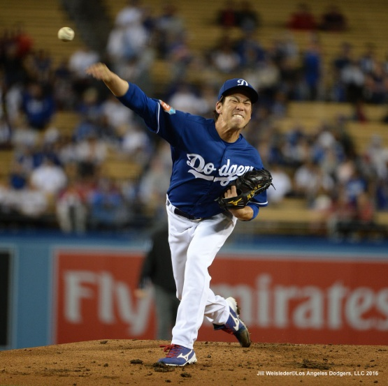 Dodger starting pitcher Kenta Maeda throws on the mound against the Los Angeles Angels of Anaheim. Jill Weisleder/LA Dodgers