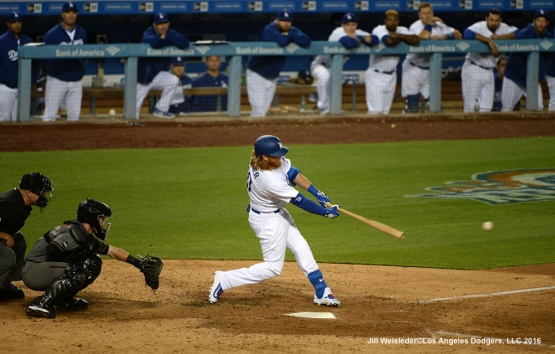 Justin Turner connects for a single in the seventh inning. Jill Weisleder/Dodgers