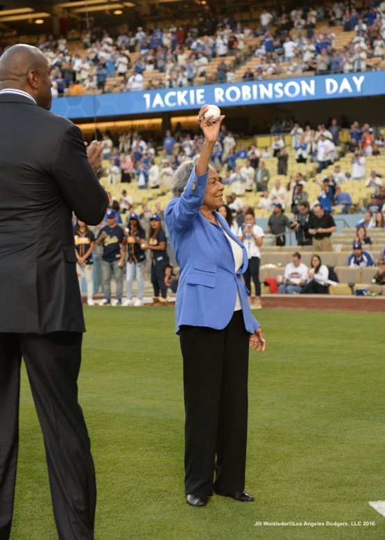 Sharon Robinson is introduced during pre-game. Jill Weisleder/Dodgers