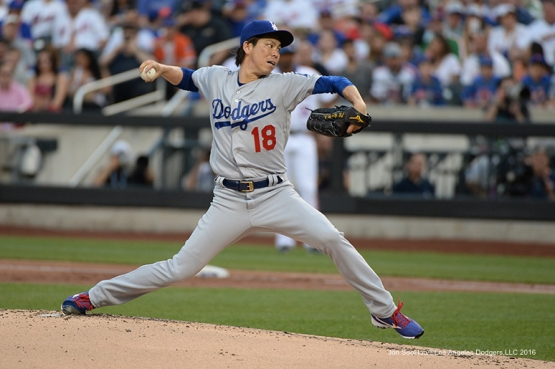 Los Angeles Dodgers Kenta Maeda pitches against the New York Mets Saturday, May 28, 2016 at Citi Field in Flushing,New York.