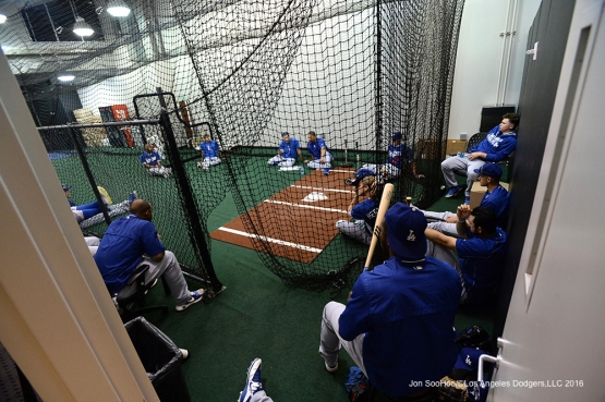 Los Angeles Dodgers meet prior to game against the New York Mets Friday, May 27, 2016 at Citi Field in Flushing,New York.