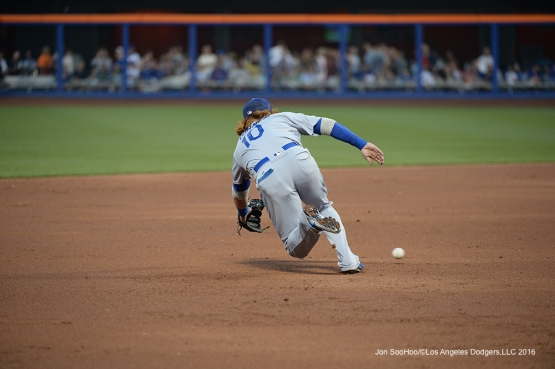 Los Angeles Dodgers Justin Turner gets grounder against the New York Mets Saturday, May 28, 2016 at Citi Field in Flushing,New York.