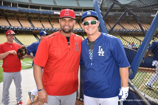 Joc Pederson and Albert Pujols pose prior to game against the Los Angeles Angels of Anaheim Monday, May 16, 2016 at Dodger Stadium in Los Angeles, California.  Jon SooHoo/©Los Angeles Dodgers,LLC 2016