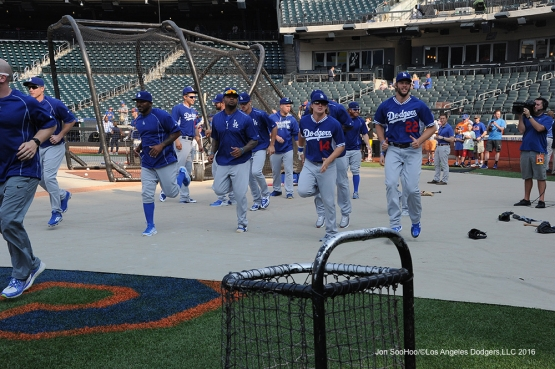 Dodgers warm up prior to game against the New York Mets Friday, May 27, 2016 at Citi Field in Flushing,New York.