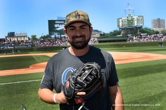 Los Angeles Dodgers Adrian Gonzalez prior to game vs the Chicago Cubs Monday, May 30,2016 at Wrigley Field in Chicago,Illinois. Photo by Jon SooHoo/©Los Angeles Dodgers,LLC 2016