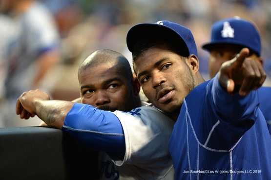 Los Angeles Dodgers Howie Kendrick and Yasiel Puig during game against the New York Mets Saturday, May 28, 2016 at Citi Field in Flushing,New York.
