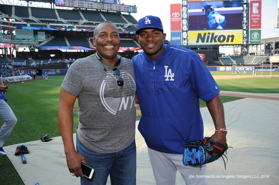 Pedro Guerrero and Yasiel Puig pose prior to game against the New York Mets Friday, May 27, 2016 at Citi Field in Flushing,New York.