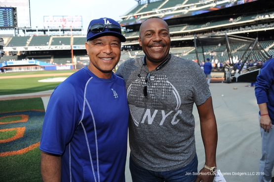 Pedro Guerrero and Dave Roberts pose prior to game against the New York Mets Friday, May 27, 2016 at Citi Field in Flushing,New York.