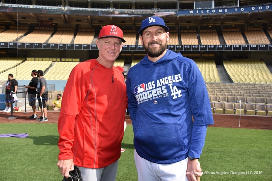 Ron Roenicke and Josh Bard pose prior to game against the Los Angeles Angels of Anaheim Monday, May 16, 2016 at Dodger Stadium in Los Angeles, California.  Jon SooHoo/©Los Angeles Dodgers,LLC 2016