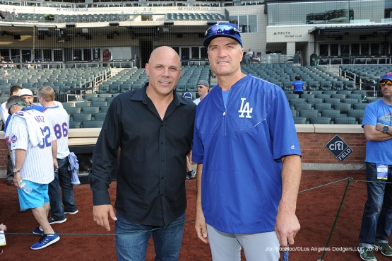 Jim Leyritz and Bob Geren pose prior to game against the New York Mets Friday, May 27, 2016 at Citi Field in Flushing,New York.