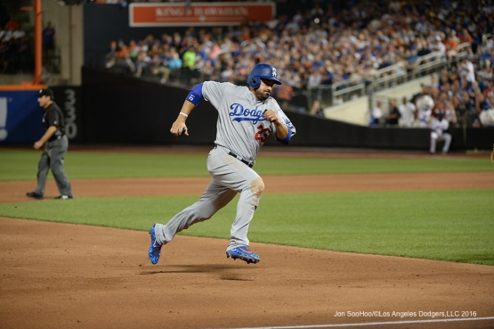Los Angeles Dodgers Adrian Gonzalez heads home against the New York Mets Saturday, May 28, 2016 at Citi Field in Flushing,New York.