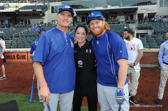 Bob Geren and Justin Turner pose with friend prior to game against the New York Mets Friday, May 27, 2016 at Citi Field in Flushing,New York.