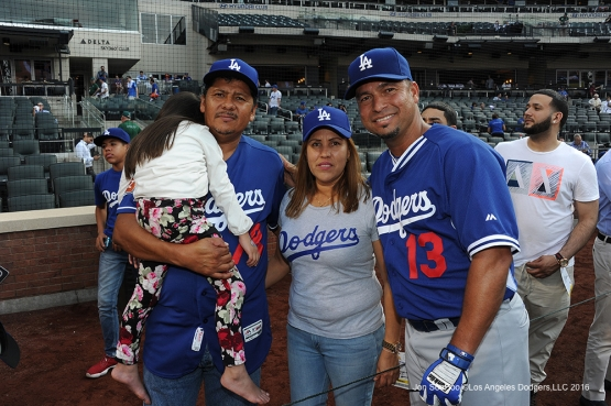 The Urias family poses with Juan Castro prior to game against the New York Mets Friday, May 27, 2016 at Citi Field in Flushing,New York.