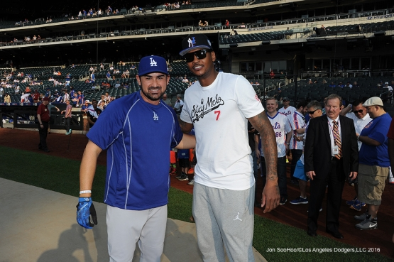 Adrian Gonzalez poses with Carmelo Anthony prior to game against the New York Mets Friday, May 27, 2016 at Citi Field in Flushing,New York.
