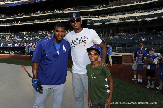 Yasiel Puig poses with Carmelo Anthony prior to game against the New York Mets Friday, May 27, 2016 at Citi Field in Flushing,New York.