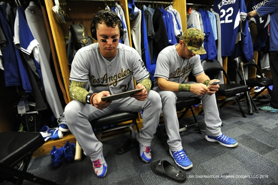 Los Angeles Dodgers  Joc Pederson and Scott Kazmir prior to game vs the Chicago Cubs Monday, May 30,2016 at Wrigley Field in Chicago,Illinois. Photo by Jon SooHoo/©Los Angeles Dodgers,LLC 2016
