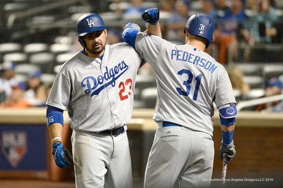 Los Angeles Dodgers Adrian Gonzalez and Joc Pederson after Gonzalez homer against the New York Mets Saturday, May 28, 2016 at Citi Field in Flushing,New York.