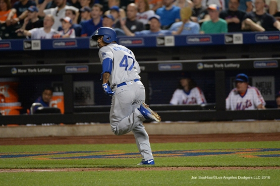 Los Angeles Dodgers Howie Kendrick homers against the New York Mets Saturday, May 28, 2016 at Citi Field in Flushing,New York.
