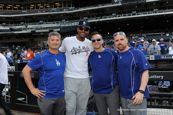 The staff poses with Carmelo Anthony prior to game against the New York Mets Friday, May 27, 2016 at Citi Field in Flushing,New York.