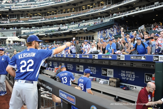 Clayton Kershaw signs for fans prior to game against the New York Mets Friday, May 27, 2016 at Citi Field in Flushing,New York.
