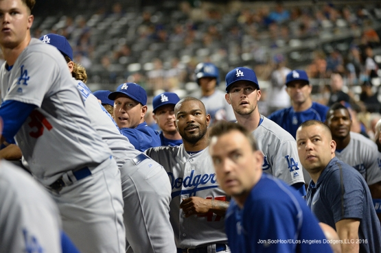 Los Angeles Dodgers watch fight in the stands during game against the New York Mets Saturday, May 28, 2016 at Citi Field in Flushing,New York.