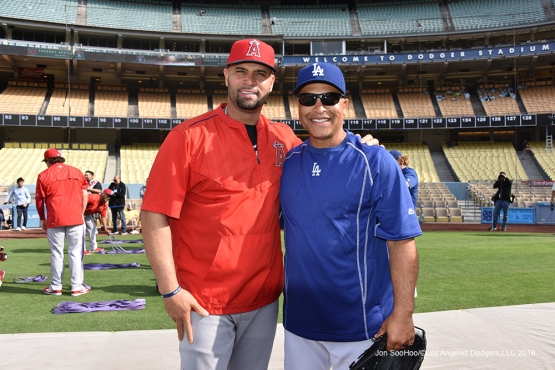 Albert Pujols with Dave Roberts prior to game against the Los Angeles Angels of Anaheim Monday, May 16, 2016 at Dodger Stadium in Los Angeles, California.  Jon SooHoo/©Los Angeles Dodgers,LLC 2016