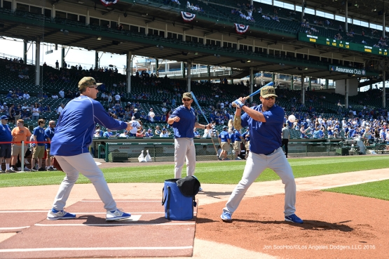 Los Angeles Dodgers coaches work out with grounders prior to game vs the Chicago Cubs Monday, May 30,2016 at Wrigley Field in Chicago,Illinois. Photo by Jon SooHoo/©Los Angeles Dodgers,LLC 2016
