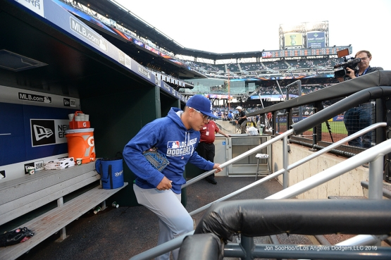 Los Angeles Dodgers Julio Urias heads to the field prior to game against the New York Mets Friday, May 27, 2016 at Citi Field in Flushing,New York.