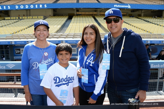 Great Los Angeles Dodger fans pose prior to game against the San Diego Padres Saturday, April 30,2016 at Dodger Stadium in Los Angeles,California.