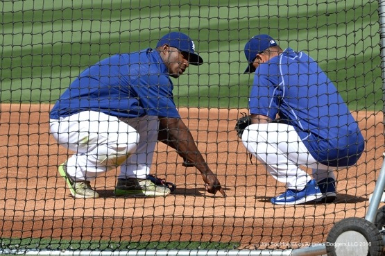 Los Angeles Dodgers Yasiel Puig and Dave Roberts prior to game against the San Diego Padres Saturday, April 30,2016 at Dodger Stadium in Los Angeles,California.