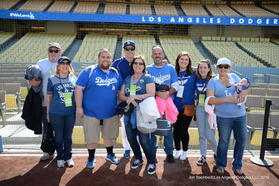 Guests of  Chase Utley pose prior to game against the San Diego Padres Saturday, April 30,2016 at Dodger Stadium in Los Angeles,California.