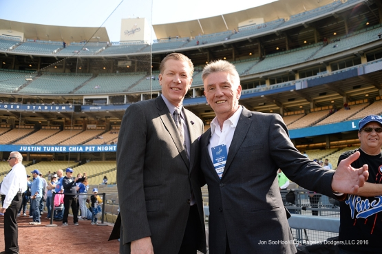 Orel Hershiser with Frazier Smith of KLOS pose prior to game against the San Diego Padres Saturday, April 30,2016 at Dodger Stadium in Los Angeles,California.