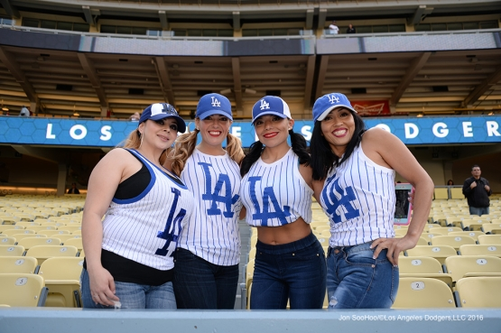 Great Los Angeles Dodger fans prior to game against the San Diego Padres Saturday, April 30,2016 at Dodger Stadium in Los Angeles,California.
