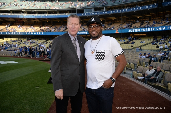 Orel Hershiser with Military Hero of the Game Los Angeles Dodgers prior to game against the San Diego Padres Saturday, April 30,2016 at Dodger Stadium in Los Angeles,California.