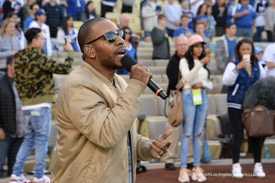 Eric Bellinger sings the national anthem prior to game against the San Diego Padres Saturday, April 30,2016 at Dodger Stadium in Los Angeles,California.