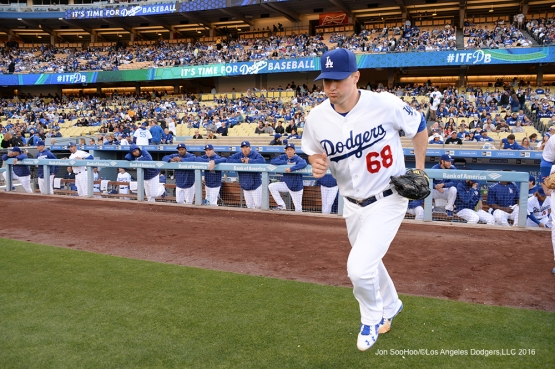 Los Angeles Dodgers Ross Stripling takes the field prior to game against the San Diego Padres Saturday, April 30,2016 at Dodger Stadium in Los Angeles,California.