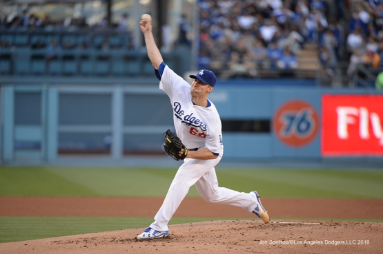Los Angeles Dodgers Ross Stripling pitches against the San Diego Padres Saturday, April 30,2016 at Dodger Stadium in Los Angeles,California.
