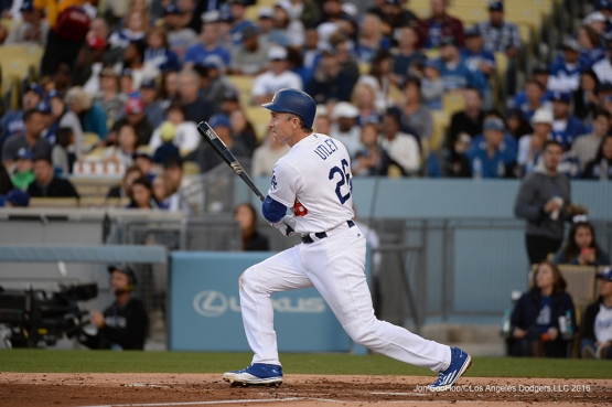 Los Angeles Dodgers Chase Utley hits two run homer against the San Diego Padres Saturday, April 30,2016 at Dodger Stadium in Los Angeles,California.