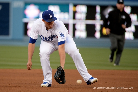 Los Angeles Dodgers Corey Seager fields grounder against the San Diego Padres Saturday, April 30,2016 at Dodger Stadium in Los Angeles,California.