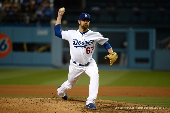 Los Angeles Dodgers Louis Coleman pitches against the San Diego Padres Saturday, April 30,2016 at Dodger Stadium in Los Angeles,California.