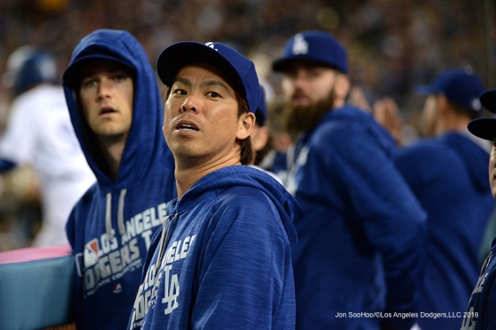 Los Angeles Dodgers Kenta Maeda in the dugout against the San Diego Padres Saturday, April 30,2016 at Dodger Stadium in Los Angeles,California.